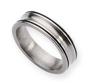 Titanium Black Enamel Braid Design 6mm Brushed Wedding Band