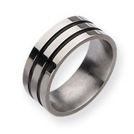 Titanium Enameled Grooved Flat 8mm Polished Wedding Band