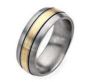 Titanium 14k Gold Inlay 8mm Brushed and Antiqued Wedding Band