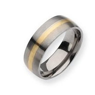 Titanium 14k Gold Inlay 8mm Brushed Wedding Band