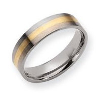 Titanium 14k Gold Inlay 6mm Satin Wedding Band