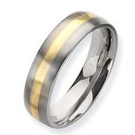 Titanium 14k Gold Inlay 6mm Brushed Wedding Band