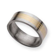 Titanium 14k Gold Inlay 8mm Satin Wedding Band