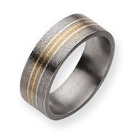 Titanium 14k Gold and Sterling Silver Inlay 8mm Satin Wedding Band