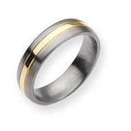 Titanium 14k Gold Inlay 6mm Brushed and Polished Wedding Band
