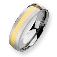 Titanium and 14k Inlay Polished 6mm Wedding Wedding Band