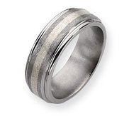 Titanium and Sterling Inlay Satin and Polished 8mm Wedding Band