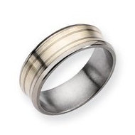 Titanium Sterling Silver Inlay Concave 8mm Satin and Polished Band