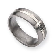 Titanium Grooved 7mm Satin and Sterling Silver Polished Wedding Band