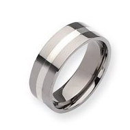Titanium Sterling Silver Inlay 8mm Polished Wedding Band