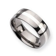 Titanium Sterling Silver Inlay 8mm Polished Round Wedding Band