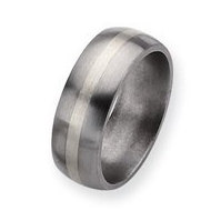 Titanium Sterling Silver Inlay 8mm Brushed Round Wedding Band