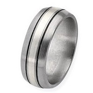 Titanium and Sterling Inlay Brushed with Antiquing 8mm Wedding Band