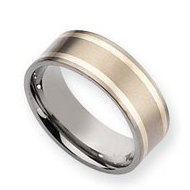 Titanium Sterling Silver Inlay Flat 8mm Satin Wedding Band