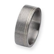 Titanium and Sterling Inlays Satin 8mm Wedding Band