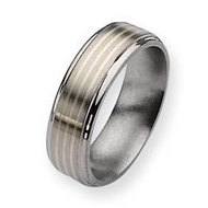Titanium Sterling Silver Inlay 7mm Brushed and Polished Wedding Band
