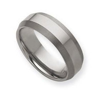 Tungsten Beveled Edge 8mm Brushed and Polished Wedding Band