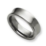 Tungsten Concave 7mm Polished Wedding Band