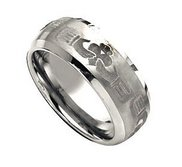 Tungsten 8mm Brushed and Polished Wedding Band