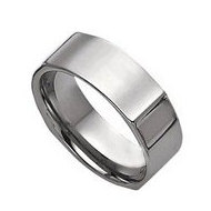 Tungsten Vertical Edges 8mm Polished Wedding Band