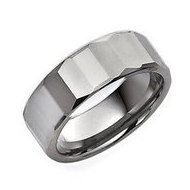 Tungsten Faceted 8mm Polished Wedding Band
