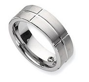 Dura Tungsten Grooved Flat 8mm Polished Wedding Band