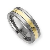 Dura Tungsten Gold plated Grooved 8mm Polished Wedding Band