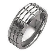 Dura Tungsten Grooved 10mm Brushed and Polished Wedding Band