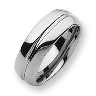 Tungsten Grooved 8mm Polished Wedding Band