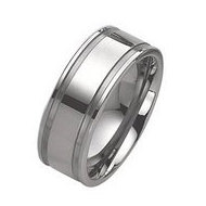 Tungsten Grooved 10mm Brushed and Polished Wedding Band