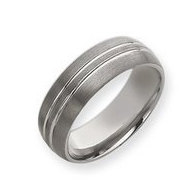 Tungsten Double Grooved 8mm Brushed and Polished Wedding Band