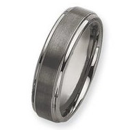 Tungsten Ridged Edge 7mm Brushed and Polished Wedding Band