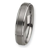 Tungsten Ridged Edge 6mm Brushed and Polished Wedding Band