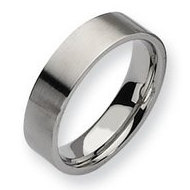 Stainless Steel Flat 6mm Brushed Wedding Band