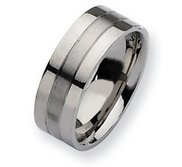 Stainless Steel Flat 8mm Satin and Polished Wedding Band