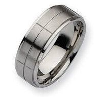 Stainless Steel Grooved 8mm Satin and Polished Wedding Band