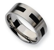 Stainless Steel Black Accent Flat 8mm Satin Wedding Band