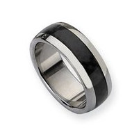 Stainless Steel and Carbon Fiber 8mm Polished Wedding Band