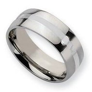 Stainless Steel Silver Inlay 8mm Polished Wedding Band