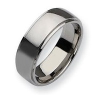 Stainless Steel Ridged Edge 8mm Polished Wedding Band
