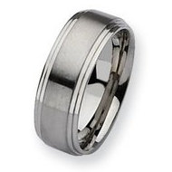 Stainless Steel 8mm Satin and Polished Wedding Band