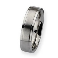 Stainless Steel Ridged Edge 6mm Satin and Polished Wedding Band