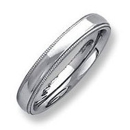 Sterling Silver 4mm Milgrain Comfort Fit  Wedding Band