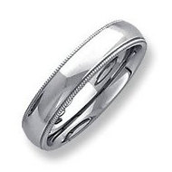 Sterling Silver 5mm Milgrain Comfort Fit  Wedding Band