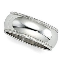 Sterling Silver 9mm Milgrain Wedding Band