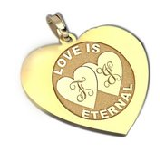 Personalized  Double Heart  Heart Pendant or Charm
