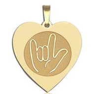 I Love You  Hand Symbol Heart Shaped Charm or Pendant