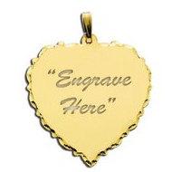 14K Yellow Gold Scalloped Heart with Diamond Cut Pendant
