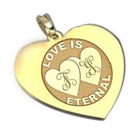 "Personalized ""Double Heart"" Heart Pendant or Charm"