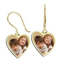 Heart Shaped Photo Pendant Kidney Wire Earrings